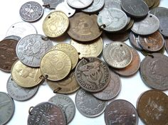 Vintage International Coins Drilled for Jewelry or Crafts, Lot of 50+ - Tribal Belly Dance - Boho Gypsy Costume  - Collectible Foreign Coins