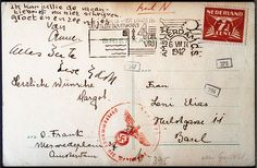 This is the goodbye message which the Frank family sent to their relatives in Basel (Switzerland) on July 5, 1942. They write it as if it is a birthday card to Otto's sister Leni, but her birthday is still a long way off. In this way, their relatives will know that something is wrong, but that they don't need to worry.