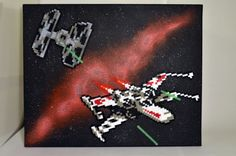 Star Wars chase scene hama/nabbi beads on canvas by TheCraftShaft