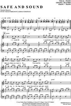 Safe and sound (Klavier + Gesang) Capital Cities [PDF Noten] >>> KLICK auf die Noten um Reinzuhören <<< Noten und Playback zum Download für verschiedene Instrumente bei notendownload Blockflöte, Querflöte, Gesang, Keyboard, Klavier, Klarinette, Saxophon, Trompete, Posaune, Violine, Violoncello, E-Bass, und andere ...
