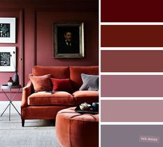 The best living room color schemes - Mauve & Brick colors The best living room color schemes - Mauve & Earth tone Brick colors The living room is the place where friends and family gather to spend quality time in a home, so it's important for it to. Color Palette For Home, Bedroom Colour Palette, Red Colour Palette, Bedroom Wall Colors, Accent Wall Bedroom, Color Palettes, House Color Schemes, Living Room Color Schemes, House Colors