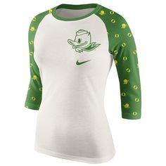 ada2944fd8 College Oregon Ducks Women s Veer Pattern Tri-Blend Raglan T-Shirt - Cream  Green