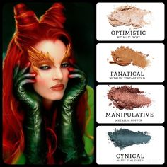 Poison Ivy's inspired #eyemakeup: #metallic ivory (optimistic), paired with #metalluc vintage gold (fanatical) and copper (manipulative) and #matte teal green (cynical). Build your own quad at www.taniaslashes.com #younique #taniaslashes #villain #movie