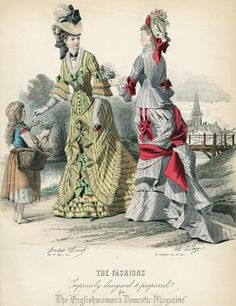 June fashions, 1876 England, The Englishwomans Domestic Magazine I know the girl probably isnt supposed to be one of the main subjects here, but Ive gotten quite a few questions about street children so Ill tag her anyway.