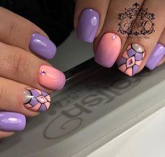 Fashionable gradient nails, Geometric nails ideas, Ideas of gradient nails, Interesting nails, Modern nails, Nails trends 2017, Nails with rhinestones, Stylish nails