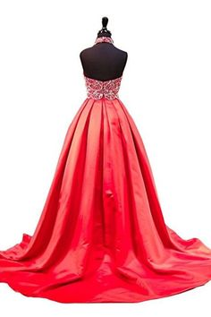 Red satin prom dress, ball gown, prom dresses for teens
