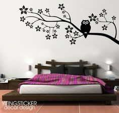 larger cherry tree with owl-decor wall sticker art deco  - etsy