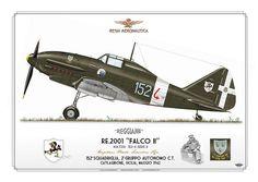 """Reggiane RE 2001 """"Falco II"""" - Velivolo MM 7214 - """"152-4"""" serie III - Regia Aeronautica -  152a Squadriglia, 2° Gruppo Autonomo CT, Caltagirone, Sicilia, 1942"""