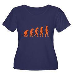 Dames T-shirt met het ontstaan van de oranje mens (Evolutie). Beschikbaar voor mannen en kinderen, in diverse kleuren en maten.
