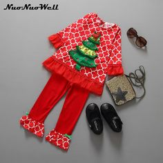 NNW Christmas Tree 2PCS Red Sets Flare Full-Sleeved T Shirt+Pants Outfits Children Sweet Clothes Cute Gift for Little Baby Girls #Affiliate