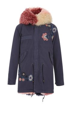 contentment Women Hooded Jacket Coats Embroidery Rose Casual,Navy Blue,XL