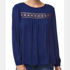 Twilight Blue Insert Blouse Light weight long sleeves blouse with Elasticized cuffs. Sheered button insert on the back for closure. 100% viscose. Machine wash. Cotton On Tops Blouses