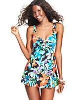 Macy's: Swim Solutions Floral-Print One-Piece Swimdress $109.00