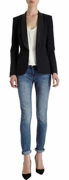 BARNEYS NEW YORK Leather Trim Blazer $1,195