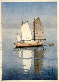 hanga gallery . . . torii gallery:     Sailing Boats, Afternoon by Hiroshi Yoshida 1926