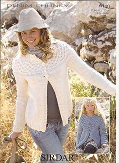 a8a99bf622621f Sirdar Denim Chunky Knitting Pattern 9140 Cable Yoked Cardigan for Girls    Women - I Crochet World