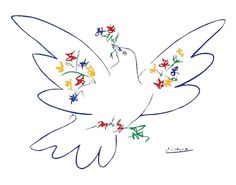 Dove of Peace, 1949 by Pablo Picasso: With Guernica hailed as one of the world's most moving anti-war paintings, Picasso was invited to design an image to represent peace. Picasso's first Dove of Peace, chosen as the emblem for the First International Peace Conference in Paris in 1949, was a traditional, realistic picture of a pigeon given to him by Henri Matisse. He later developed this image into a simple, graphic line drawing that is one of the world's most recognizable symbols of peace.