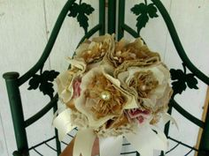 Rustic Wedding Bouquet Textured Fabric Flower by AfternoonDelite, $100.00