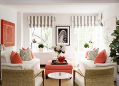 Love coral as an accent with this neutral scheme! Easy to switch out for another color when seasons change