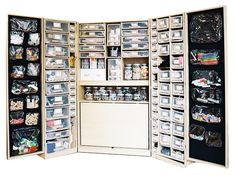 Organization - Craft supplies organized in plastic drawers and glass jars