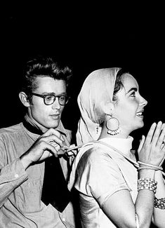 James Dean and Elizabeth Taylor on the set of Giant