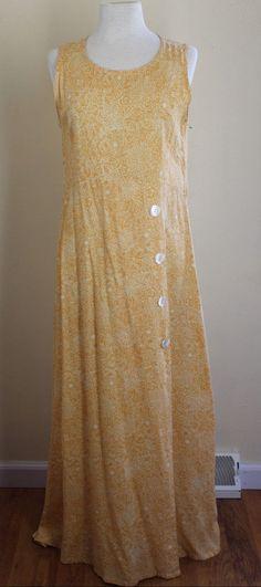 April Cornell Art-to-Wear Sunflower Yellow Rayon Tank Long Sun Dress Sz S…