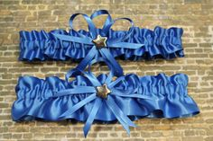 Royal Blue Wedding Garter Set with Star Charms by StarBridal
