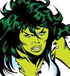 She-Hulk (Marvel Comics) (Early) angry face closeup. From http://www.writeups.org/she-hulk-marvel-comics-jennifer-walters-earliest/