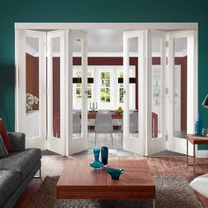 Freefold White Pattern 10 Style Folding 6 Door Set with Clear Glass, Height 2090mm, Width 3726mm. #foldingdoors #internalfodlingdoors #whitefoldingdoors