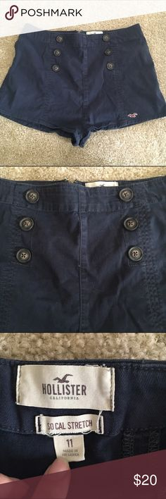 Hollister High Waist Sailor Button Shorts Stretch Super cute retro sailor Button shorts from Hollister. Navy blue. Stretch material. Front buttons are not functional. High waisted, really comfy and sexy without being over the top. Fit pretty true to size for hollister, maybe running a tad small. Hollister Shorts