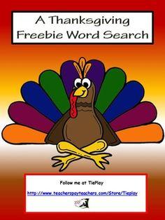 FREE A Thanksgiving Word Search & Key Worksheet No Prep