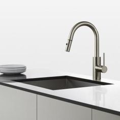 KRAUS Oletto Single Handle Pull Down Kitchen Faucet With Dual Function  Sprayer In Stainless Steel