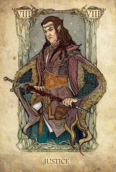 Tarot: Justice, by ~SceithAilm. A set of Tolkien-themed Tarot cards. Jrr Tolkien, Art Carte, O Hobbit, Tarot Card Decks, Major Arcana, Illustrations, Deck Of Cards, Lord Of The Rings, Lord Rings