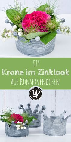 Upcycling-Idee: Verwandle Konservendosen in Kronen im Vintage-Look Cans upcycling – the instructions for this DIY are available at dekoideenreich.de These crowns are a magical decoration and gift idea. Upcycled Home Decor, Upcycled Crafts, Diy And Crafts, Repurposed, Summer Crafts, Fall Crafts, Christmas Crafts, Diy Garden Projects, Projects For Kids
