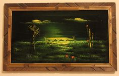 Retro 1970s Velvet Painting Brilliant by RememberThisToys on Etsy #VelvetPainting #Mexico #MexicoTourism #70s #Retro #Chartreuse