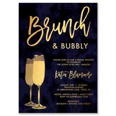 """Katia"" Navy and Gold Brunch + Bubbly Bridal Shower Invitation"