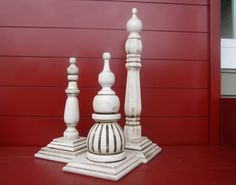 Make your own finials from items found at your local home improvement store.