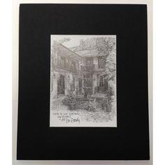 """10.5"""" x 8.75"""" Maison de Ville Courtyard Matted Pencil Print"""