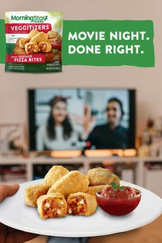 With blockbuster flavor in every bite, new MorningStar Farms® Pizza Bites are the perfect snack for your next movie night. Made with 100% plant-protein, our Pepperoni and Sausage Pizza Bites are sure to please every film—and food—fan in your family. Beef Recipes, Vegetarian Recipes, Snack Recipes, Cooking Recipes, Healthy Recipes, Pizza Recipes, Pizza Bites, Aesthetic Food, Food Cravings