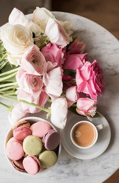 Coffee, roses and macarons