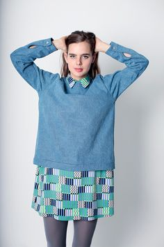 i'm not big on bright colors but love the idea of a sweatshirt over a short dress.  dusen dusen fall 2013 by calivintage.