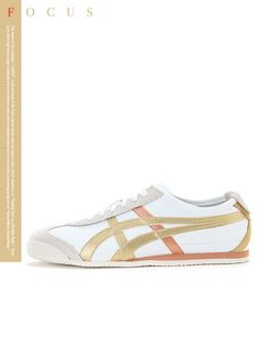 Asics Onitsuka Tiger Mexico 66 White/Gold Shoes in Clothing, , Mens Shoes, Casual Onitsuka Tiger Women Outfit, Onitsuka Tiger Mens, Onitsuka Tiger Mexico 66, White And Gold Shoes, White Gold, Onisuka Tiger, Tiger Shoes, Cinderella Slipper, Gold Sneakers