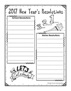 new years resolutions updated for 2017 features checklists graphic organizers and writing templates