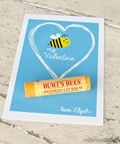 This 'Bee' My Valentine Card shares a tube of Burt's Bees lip balm, too!