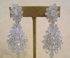 20 Carats Ct Marquise & Pear Cut Chandelier Diamond Earrings 18k White Gold DBC #Handmade #Chandelier