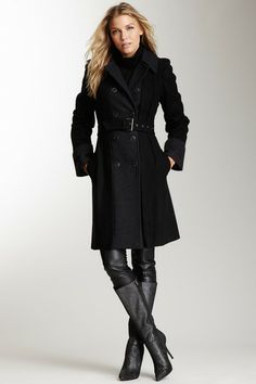 Long Military Belted Wool Coat by Vince Camuto on @HauteLook