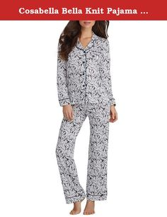 """Cosabella Bella Knit Pajama Set, L, Smoke Grey Fern. Lounge around in this ultra-comfy knit pajama set, Notch collar, button-down top with chest pocket. Contrasting satin piping accents on collar and hem, Top: 28"""" long from shoulders; measured from size M. Dig-free covered elastic waistband on pants Cosabella, Style Number: AMORP9641."""