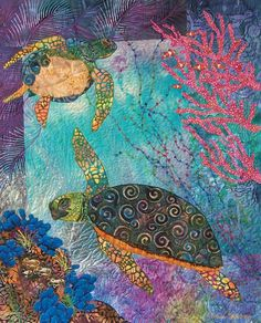 "Under the Sea...""Turtle Tango"". Fiber art quilt by Eileen Williams"