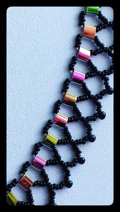Black Bead Woven Netted Necklace With by FeithHodgeCreations, $38.00