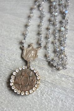Adorned-Vintage assemblage necklace by frenchfeatherdesigns